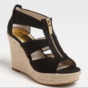 Michael Kors Damita Black Canvas Wedge Heel